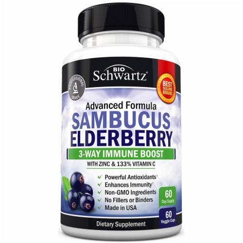 BioSchwartz Sambucus Elderberry with Zinc & Vitamin C Capsules 60 Count Perspective: front