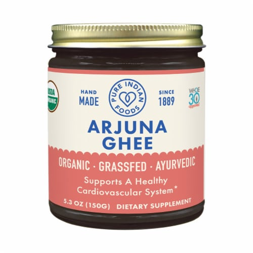 Pure Indian Foods Arjuna Ayurvedic Grassfed Ghee Perspective: front