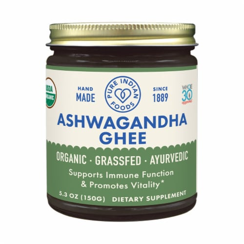 Pure Indian Foods Ashwagandha Ayurvedic Grassfed Ghee Perspective: front