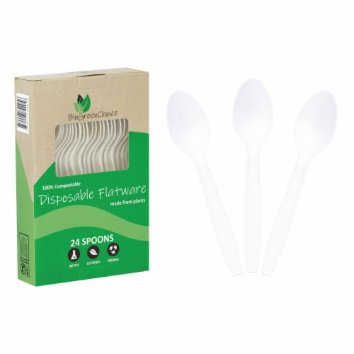 """6"""" Eco-Friendly Disposable Cutlery Spoons (100 Count) Perspective: front"""