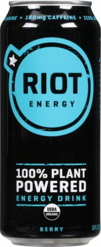 teaRIOT Berry Plant Based Energy Drink Perspective: front
