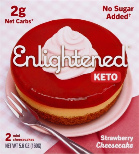 Enlightened Mini Keto Strawberry Cheesecakes Perspective: front