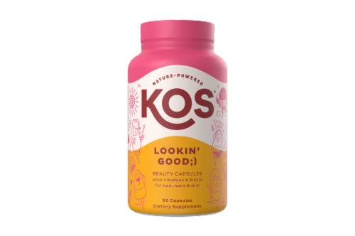 KOS Lookin' Good Hair Nail and Skin Support Capsules Perspective: front