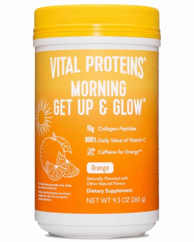 Vital Proteins Morning Get Up & Glow Orange Flavored Dietary Supplement Perspective: front
