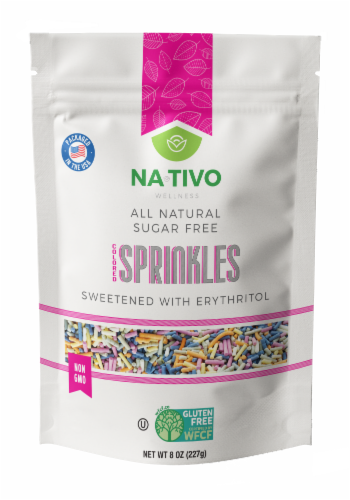 Nativo Erythritol sugar free Rainbow sprinkles Perspective: front
