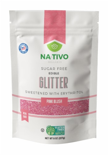Nativo Erythritol Sugar Free Glitter Pink Blush Perspective: front
