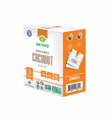 Nativo Organic Coconut Sugar 50 ct box Sweetener Perspective: front