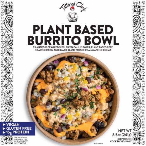 Tattooed Chef Plant Based Burrito Bowl Frozen Meal Perspective: front