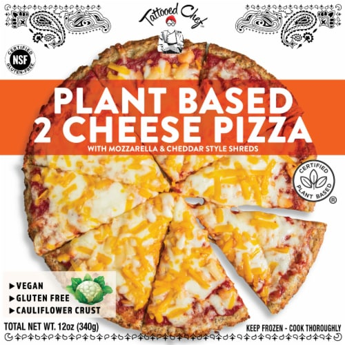 Tattooed Chef Cauliflower Crust Plant-Based Cheese Pizza Perspective: front