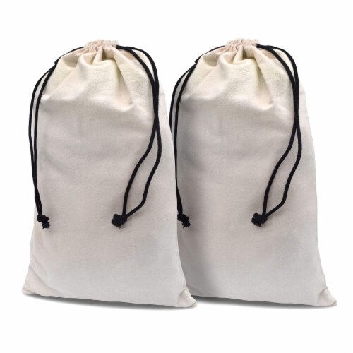 Flannel Boot Bags for Travel and Storage, 100% Cotton Duster Pouches with Drawstring Closure Perspective: front