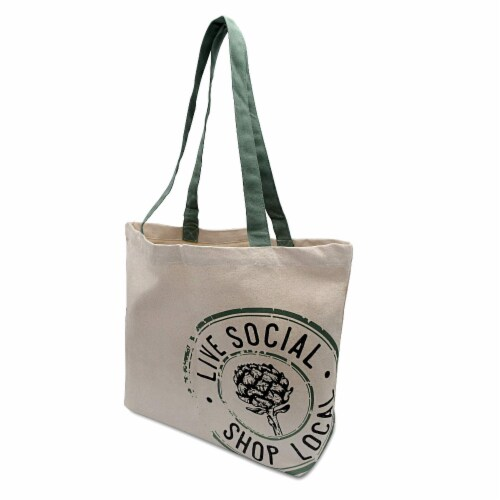 Farmers Market Tote, Reusable Cotton Grocery Bag, Washable Organic Cotton with Print Perspective: front