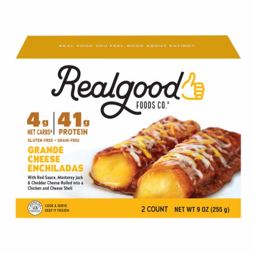 The Real Good Food Company Grande Cheese Enchiladas Frozen Meal Perspective: front