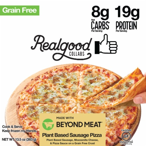 The Real Good Food Company Plant-Based with Beyond Sausage Pizza Perspective: front