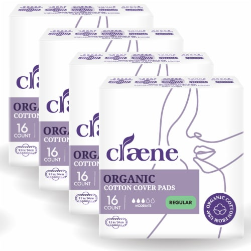 Claene Organic Cotton Cover Pads, Menstrual Regular Pads for Women, Unscented 64 Count Perspective: front