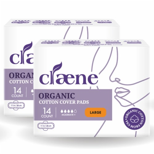 Claene Organic Cotton Cover Pads, Menstrual Large Pads for Women, Unscented 28 Count Perspective: front