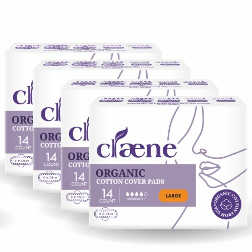 Claene Organic Cotton Cover Pads, Menstrual Large Pads for Women, Unscented 56 Count Perspective: front
