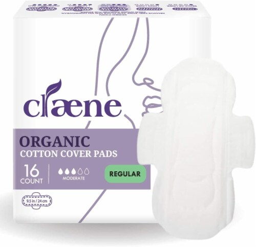 Claene Organic Cotton Cover Pads, Menstrual Regular Pads for Women, Unscented 16 Count Perspective: front