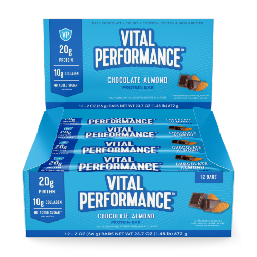 Vital Performance Chocolate Almond Protein Bars Perspective: front