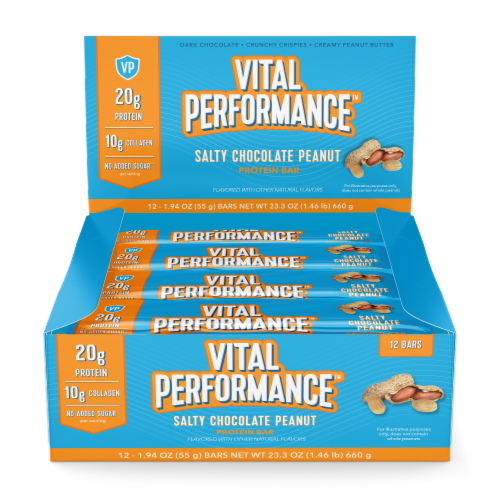 Vital Performance Salty Chocolate Peanut Protein Bars Perspective: front