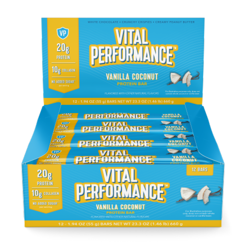 Vital Performance™ Vanilla Coconut Protein Bars Perspective: front