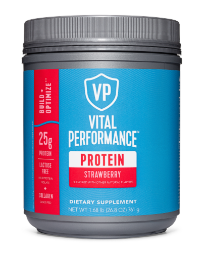 Vital Performance Strawberry Protein Powder Perspective: front