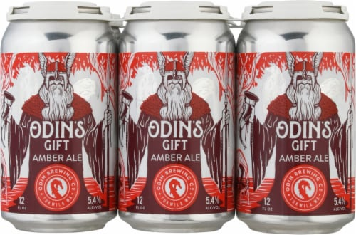 Odin Brewing Co Odin's Gift Amber Ale Beer Perspective: front