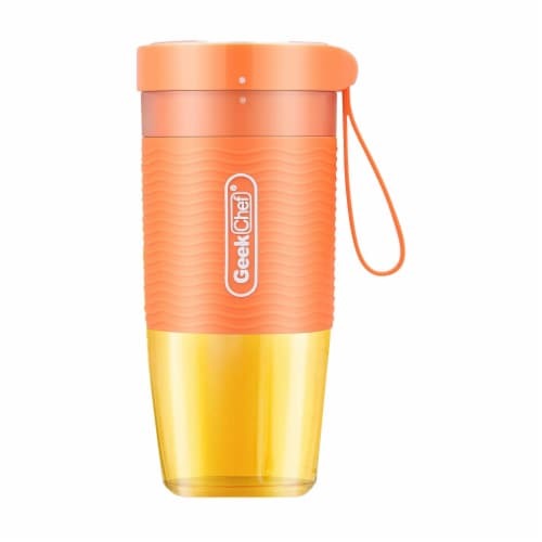 Geek Chef 10 Ounce Rechargeable Portable Blender Bottle with USB Cable, Orange Perspective: front