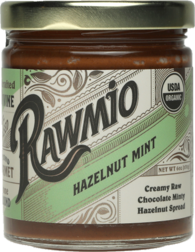 Rawmio Creamy Chocolate Hazelnut Mint Spread Perspective: front