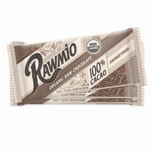 Rawmio Essentials 100% Cacao Dark Chocolate Bars Perspective: front
