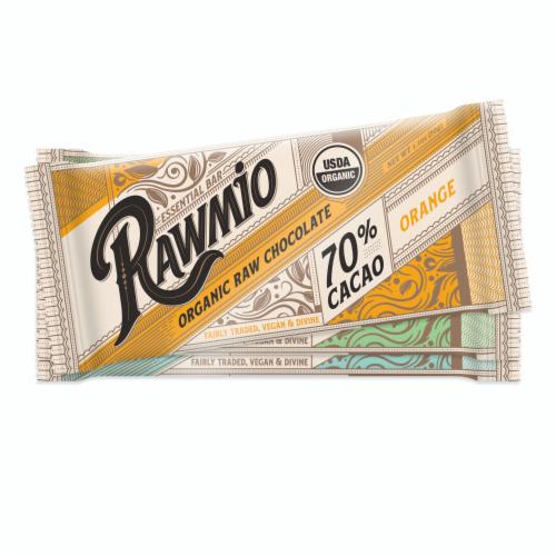 Rawmio Essentials 70% Cacao Dark Chocolate Bars Perspective: front