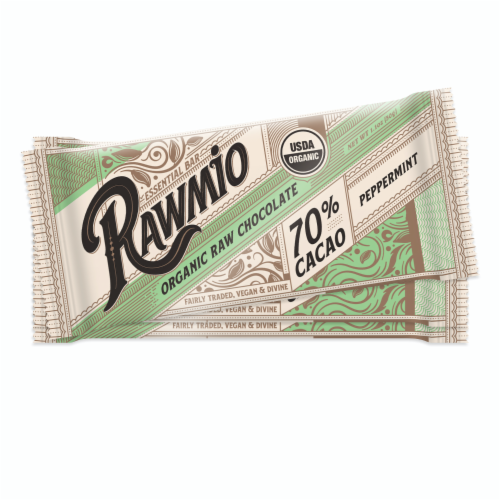Rawmio Essentials Dark Chocolate Mint Bars Perspective: front