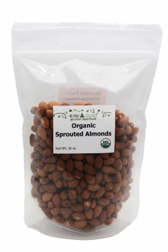 Raw Guru Organic Sprouted Almonds Perspective: front