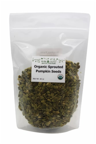 Raw Guru Organic Sprouted Pumpkin Seeds Perspective: front