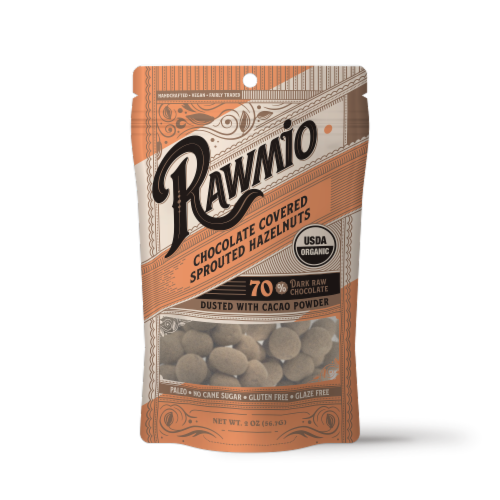 Rawmio Organic Chocolate Covered Sprouted Hazelnuts Perspective: front