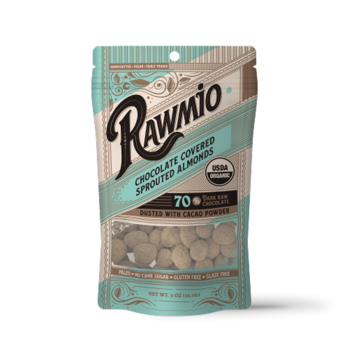 Rawmio Organic Chocolate Covered Sprouted Almonds Perspective: front