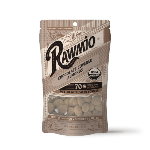 Rawmio Organic Chocolate Covered Almonds Perspective: front