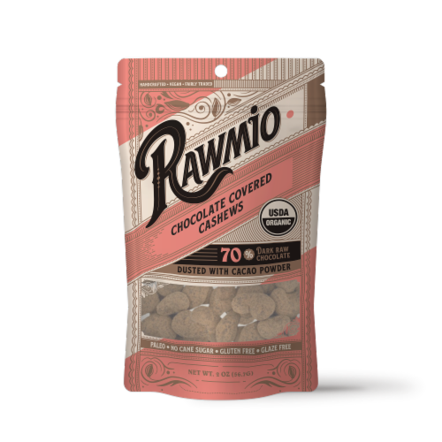 Rawmio Organic Chocolate Covered Cashews Perspective: front