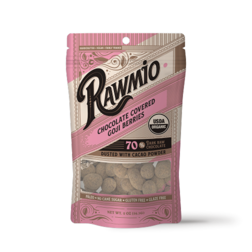 Rawmio Organic Chocolate Covered Goji Berries Perspective: front