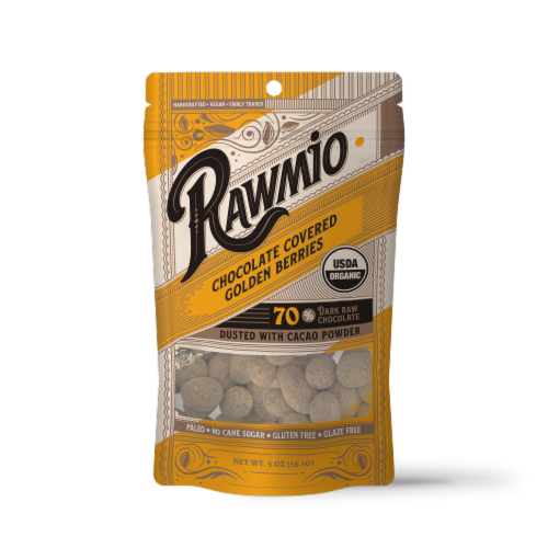 Rawmio Organic Chocolate Covered Golden Berries Perspective: front