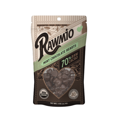 Rawmio 70% Raw Mint Chocolate Hearts Perspective: front
