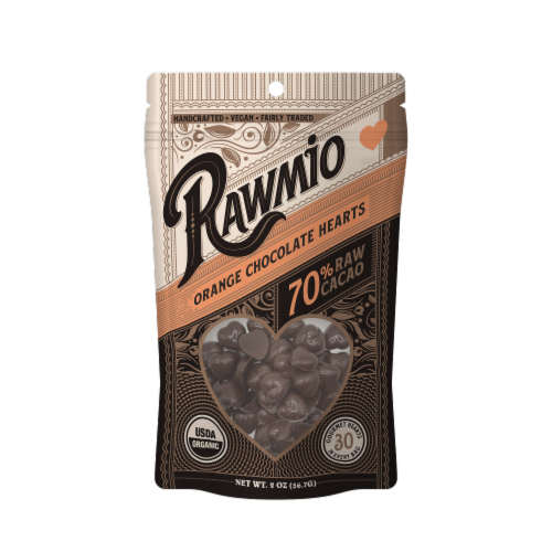 Rawmio 70% Raw Orange Chocolate Hearts Perspective: front