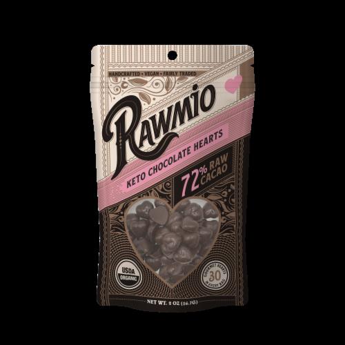 Rawmio 72% Raw Keto Chocolate Hearts Perspective: front