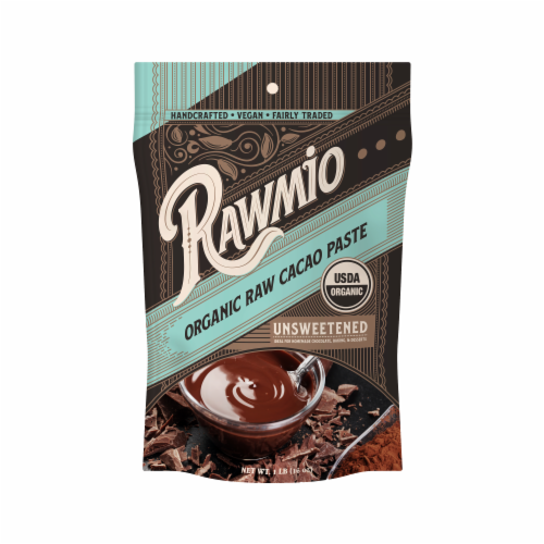 Rawmio Organic Raw Unsweetened Cacao Paste Perspective: front