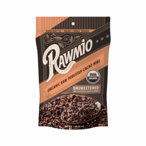 Rawmio Organic Raw Peruvian Unsweetened Cacao Nibs Perspective: front