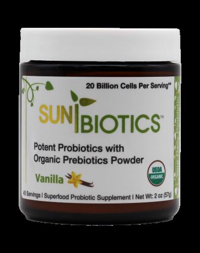 Sunbiotics Vanilla Potent Probiotics with Organic Prebiotics Powder Perspective: front