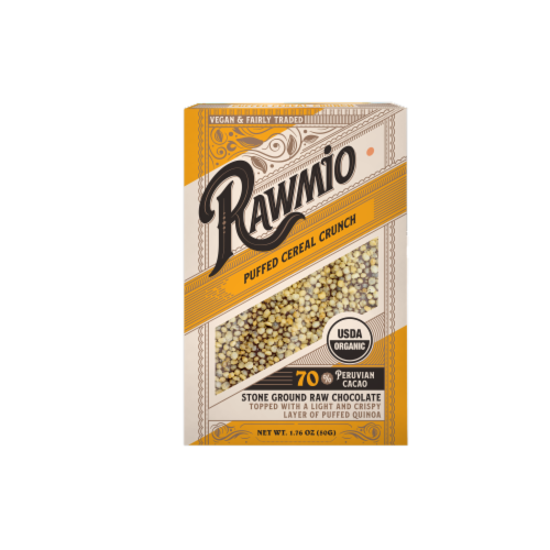 Rawmio Organic Puffed Cereal Crunch Raw Chocolate Bar Perspective: front