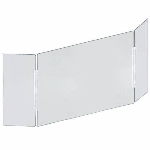 Azar Displays Clear Acrylic Trifold Sneeze Guard Protective Barrier Perspective: front
