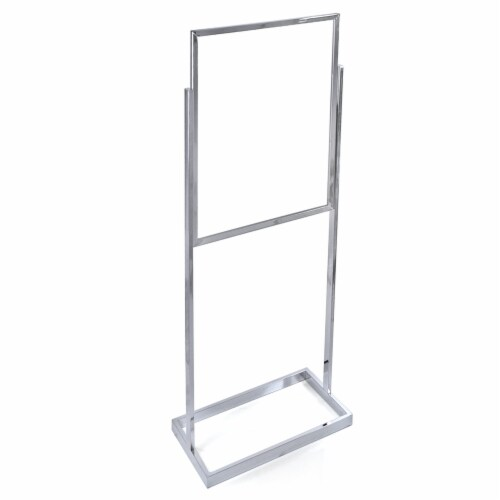 Azar Displays Poster Panel Stand on Wide Base - Chrome Perspective: front