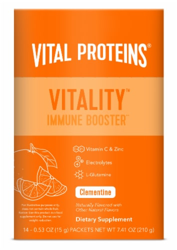 Vital Prteins Vitality Clementine Immune Booster Packets Perspective: front
