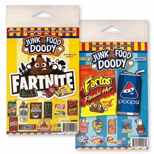 BravoNavo Junk Food Doody 10 Pack Parody Stickers Series 1 Perspective: front